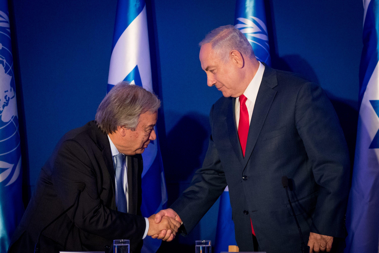 """האו""""ם לא יעשה בשבילנו את העבודה. ראש הממשלה נתניהו עם מזכ""""ל האו""""ם אנטוניו גוטרש, השבוע צילום: יונתן זינדל, פלאש 90"""
