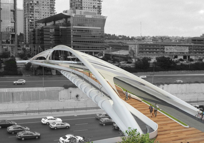 """השר כ""""ץ חזר בו והחרדים אפילו לא נאלצו לאיים. הדמיית הגשר הדמיה: חן אדריכלים"""