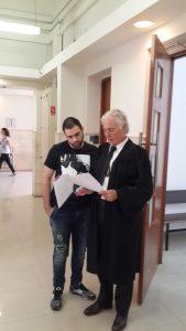 חשש שפסק הדין יפגע במוטיבציה של הלוחמים. בן דרי ועורך דינו ציון אמיר בבית המשפט צילום: 'חננו'