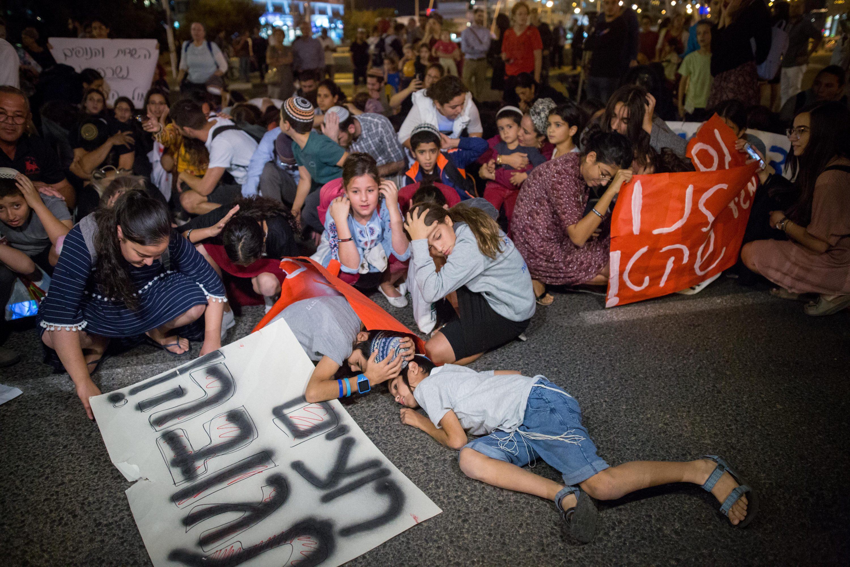 """""""הצבא לא עושה מספיק"""". מחאת תושבי עוטף עזה צילום: מרים אלסטר, פלאש 90"""